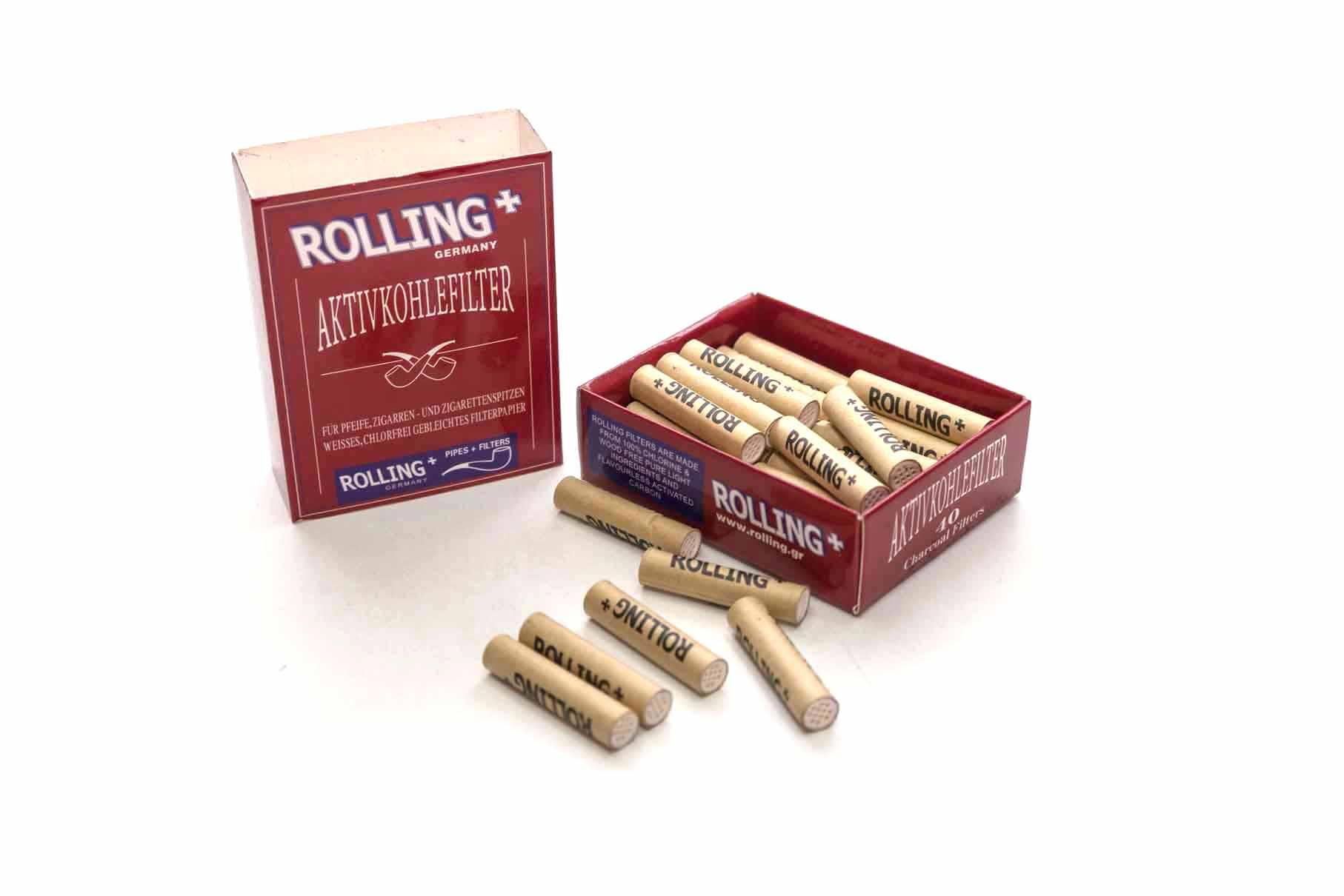 Pipfilter Rolling Aktivt kol 9mm. 40 st